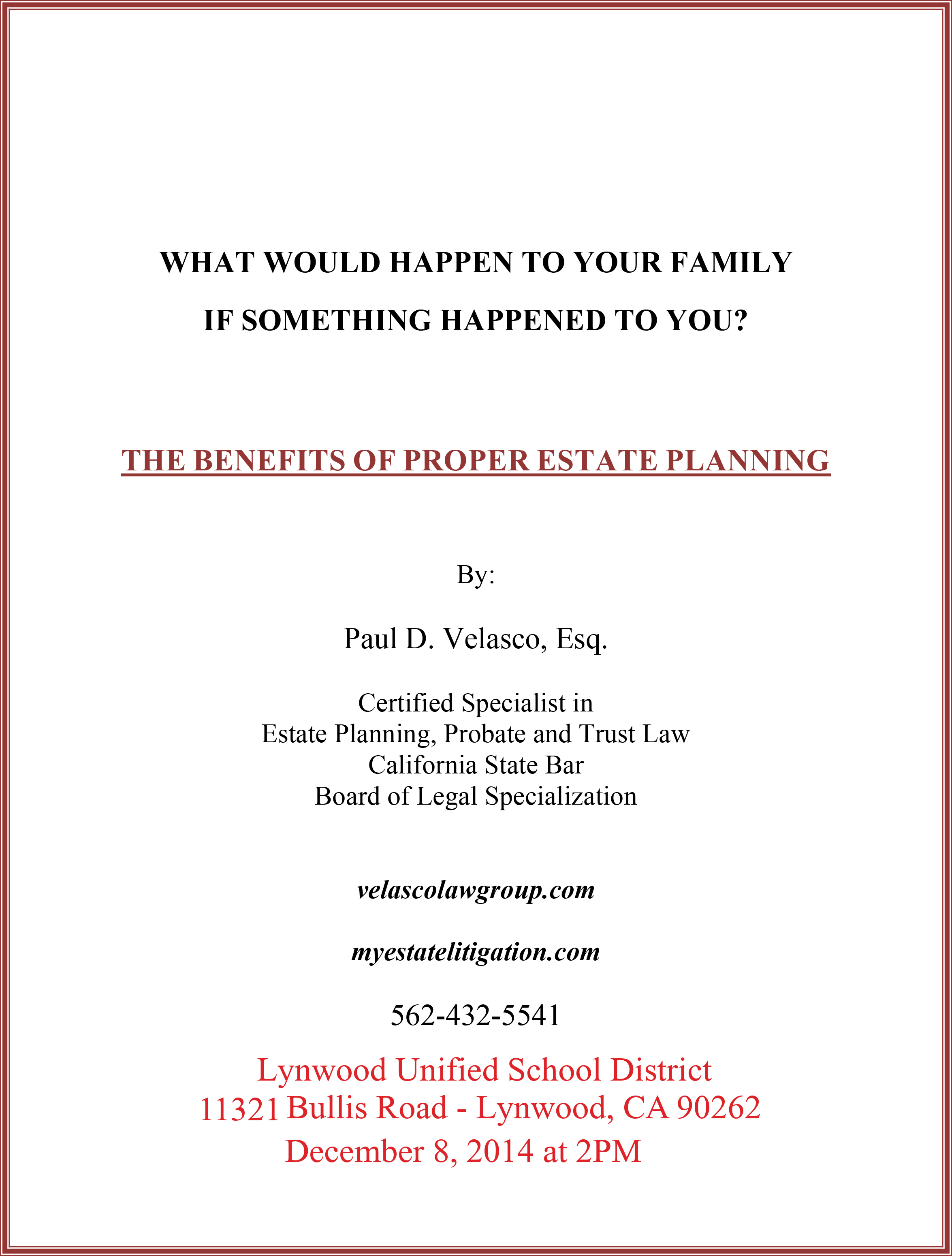 ESTATE PLANNING PRESENTATION